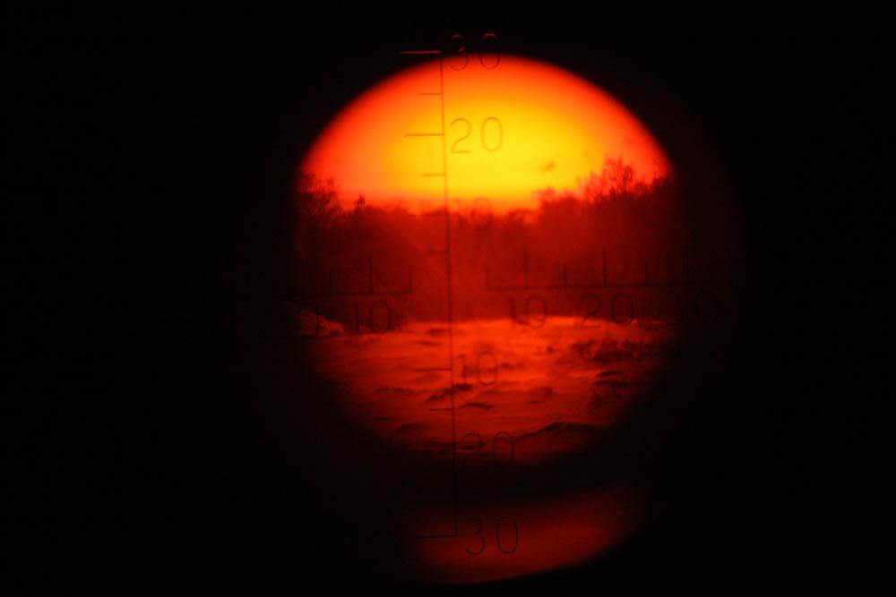 Första försök (utan stativ) tillfoto ut ur periskopet i 3.pjäs batteri Landsort. Lars A. Hansson