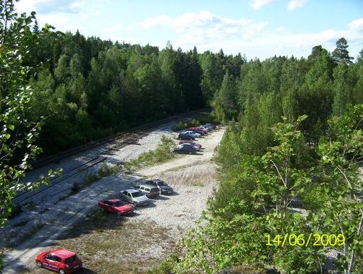 Utsikt från skansen mot den gamla järnvägen.